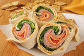 Wrap sandwich with Italian meats — Stock Photo