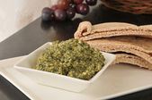 Basil Pesto and Pita Bread — Stock Photo
