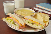 Baloney sandwich and soup — Stock Photo