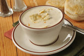 Cup of clam chowder — Stok fotoğraf