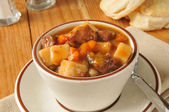 Thick vegetable beef soup — Stock Photo