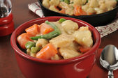 Chicken and dumplings with carrots and green beans — Stock Photo