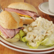 Ham sandwich and macaroni salad — Stock Photo