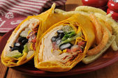 Chipotle chicken wrap sandwich — Stock Photo