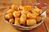 Tater tots and catsup — Stock Photo