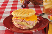 Monte Christo sandwich on a waffle — Stock Photo