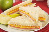 Bologna and cheese sandwich — Stock Photo