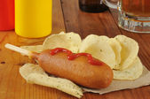 Corn dog with catsup — Stock Photo