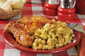 Barbecue chicken and stuffing — Stock Photo