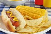 Cachorro-quente com espiga de milho — Fotografia Stock