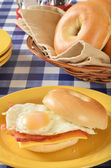 Ham egg and cheese sandwich on a bagel — Stock Photo