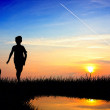 Stock Photo: Child playing ball at sunset