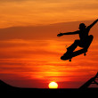 Skateboard silhouette — Stock Photo