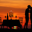 Dinner by candlelight - Stock Photo