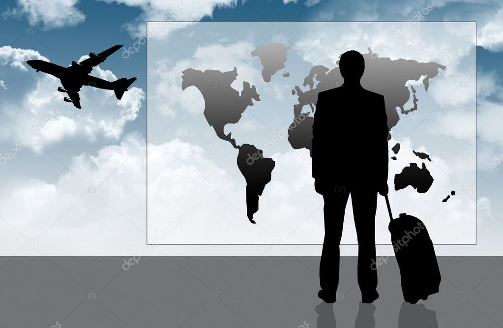 Businessman traveling illustration — Stock Photo #12716776
