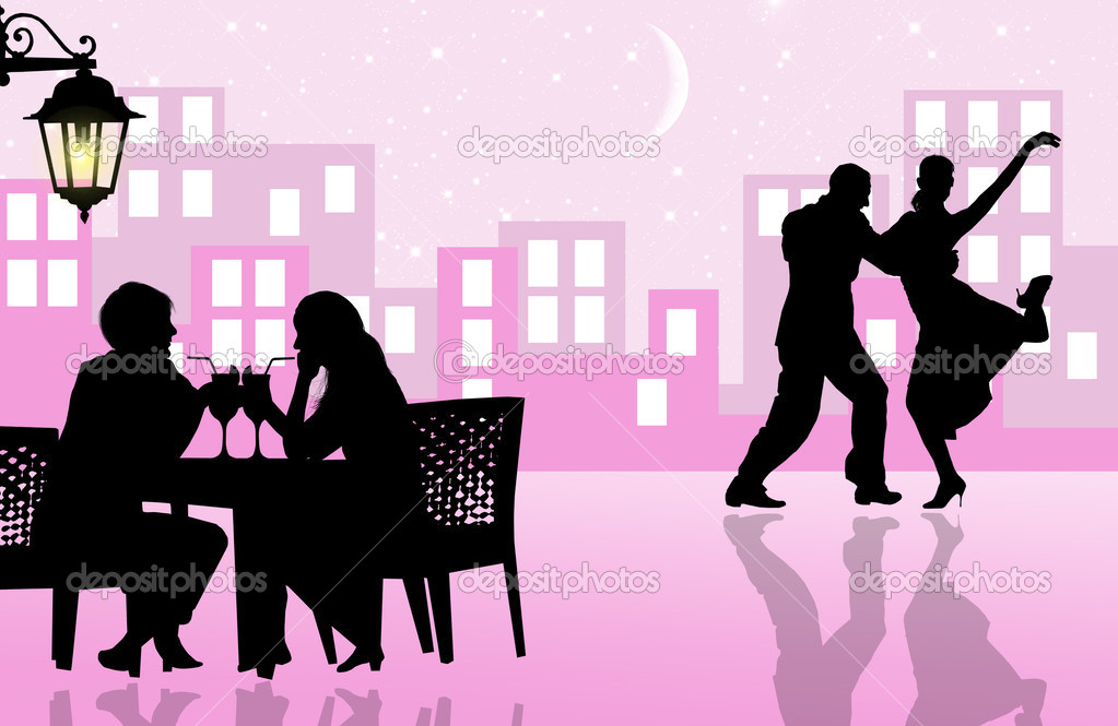 Dinner and dance in the city illustration — Stock Photo #12775648