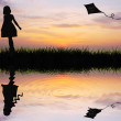 Girl with kite — Stock Photo
