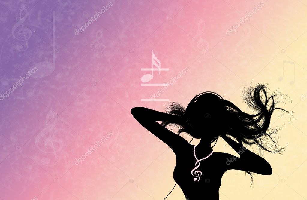 Woman with headphones music silhouette — Stock Photo #13133493