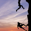 Free climbing at sunset — Stock Photo
