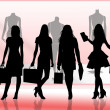 Women goes shopping — Stockfoto