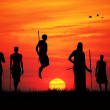 Stock Photo: Masai at sunset