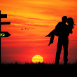Stock Photo: Lovers at sunset