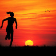 Run at sunset — Stock Photo