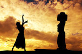 Tahitian Dance on Rapa Nui — Stock Photo