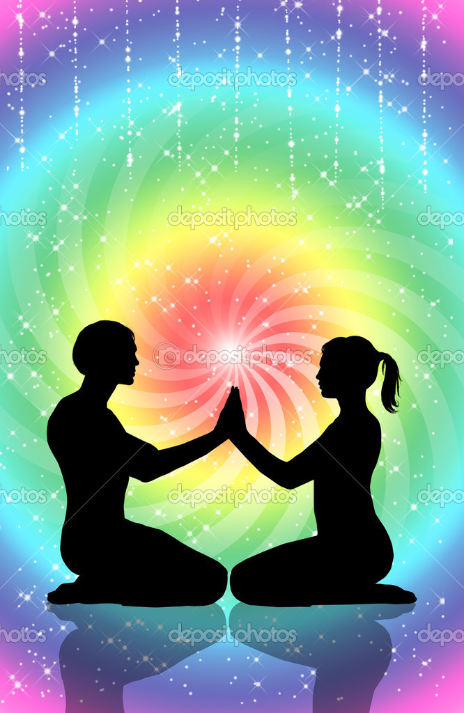 Couple practicing tantra yoga — Stock Photo #17075421