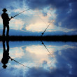 Fishing at sunset - Stockfoto