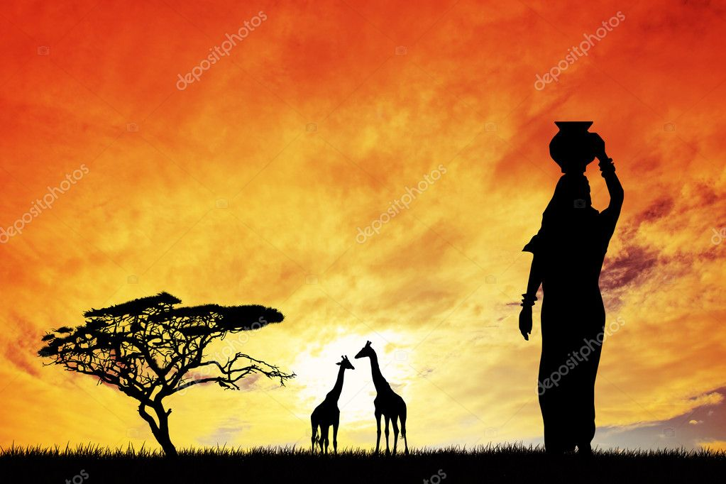 African woman at sunset  Stock Photo #17989505