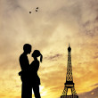 Lovers kissing in Paris — Stock Photo #18366895