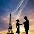 Lovers kissing in Paris — Stock Photo #18368903