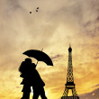 Paris at sunset — Stock Photo