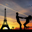 Couple in love in Paris — Stock Photo