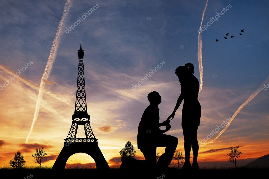 Man proposing to woman in Paris — Stock Photo #18366785