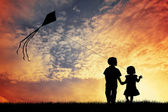 Childrens with kite — Stock Photo