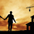 Lovers in future home — Stockfoto