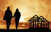 Lovers in dream home — Stock Photo