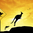 Kangaroo sign caution — Stock Photo #19371205