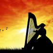 Harp silhouette — Stock Photo
