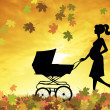 Woman with pram — Stock Photo