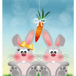 Bunnies with carrot — Stock Photo