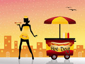 Hot dog cart — Stock Photo