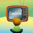 Children watch cartoons - Stockfoto