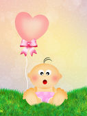 Baby with heart balloons — Stockfoto