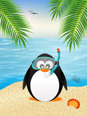 Penguin with scuba mask — Stock Photo