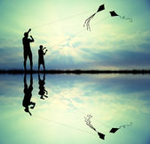 Father and son with kite — Stock Photo