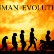 Human evolution with motorcycle — Stock Photo