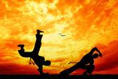 Capoeira ao pôr do sol — Foto Stock